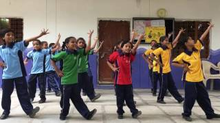 Learning Telugu alphabet through dance by St Mary's Np block students jangaon