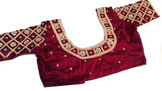 aari work blouse using basic stitch   aari work for beginners   blouse designs idea   #197