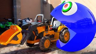 Pac-Man in Real Life Playing with Kids / Hungry Pacman Pretend Play with Cars