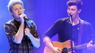 "Shawn Mendes & Niall Horan singing ""Mercy"""