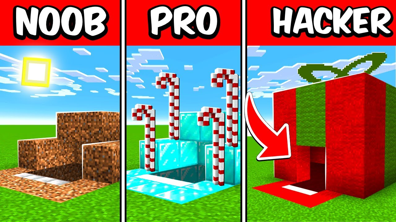 UnspeakableGaming - NOOB vs PRO vs HACKER Christmas Present Build Battle Challenge!