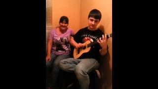 Crazy train cover mom and son little acoustic