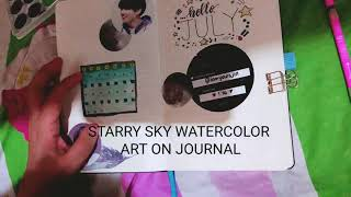 Starry Sky Watercolor Artwork on my Journal