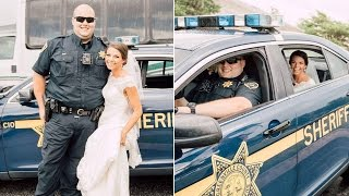 Bride Hitches Ride to Ceremony in Deputy's Car When Limo Breaks Down