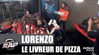 Lorenzo se fait livrer une pizza lors de son planète rap avant de lâcher un freestyle !