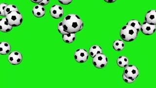rainning soccer balls green screen (footage - dissolve)