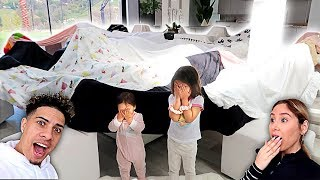 TRANSFORMING OUR HOUSE INTO A MASSIVE FORT!!! **SURPRISING OUR KIDS**