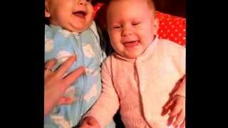 The difference between boy & girl baby twins laughing from tickles!
