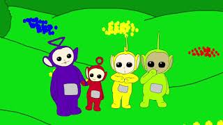Teletubbies holding hands segment in drawing