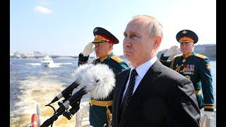 MAGNIFICIENT: Putin Listens To Russian Anthem At The The Main Naval Parade in St Petersburg
