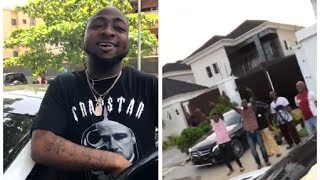 WATCH Davido Visit His Renovated House As He Got His Workers And Police Guard Cheer Him