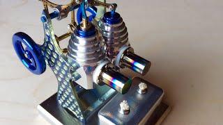 Twin Cylinder Titanium Stirling Engine.