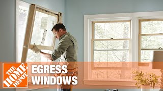 A casement-style egress window swings open like a door.