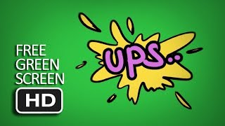 Free Green Screen - Ups! Comic Text Effect Animated