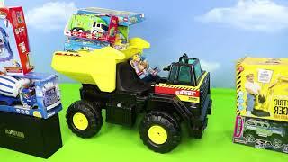 الحفار, الجرار, سيارة الإطفاء, شاحنات القمامة و سيارات الشرطة ومجموعة ألعاب سيار Excavator Toys