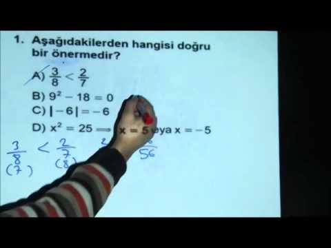 Matematik-1 Açık Lise Sınavı 21 Ocak 2012 - Soru 1 www.bkegitim.com
