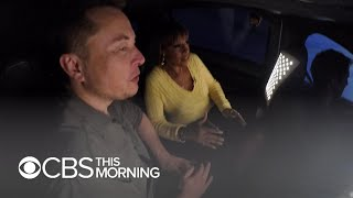 Elon Musk and Gayle King test drive his new Boring Company tunnel width=