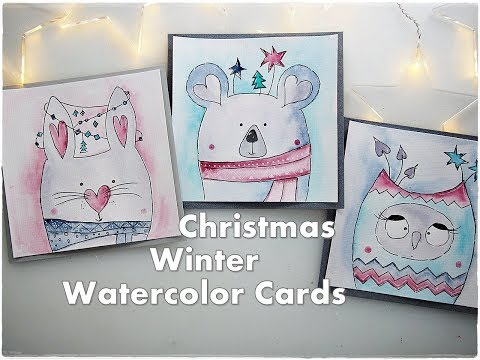 3 Cute Animals Christmas Winter Watercolor Cards for Beginners ♡ Maremi's Small Art ♡