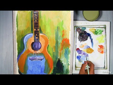 Guitar Painting in Paper in Acrylic Style | step by step