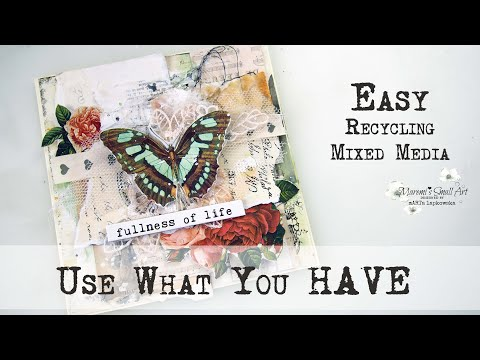USE WHAT YOU HAVE ! – Leftovers Mixed Media Card ✂️ Maremi's Small Art