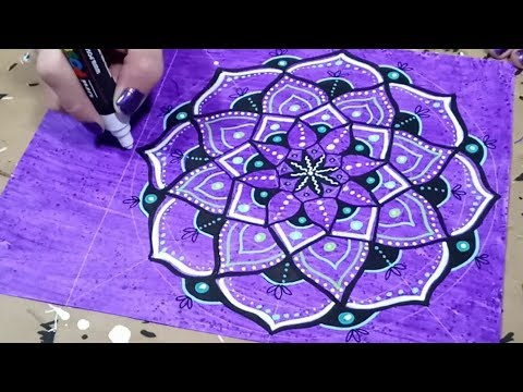 Mandala Drawing on Painted Paper with Paint Markers Timelapse Demonstration
