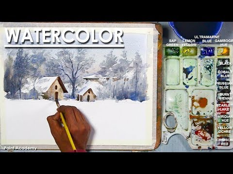 Winter Barn- Watercolor Painting | easy steps to follow, step by step Drawing to Coloring