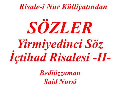 "Yirmiyedinci Söz -II- ""Sözler"" ""Risale-i Nur Külliyatından"" ""Bediüzzaman Said Nursi"""