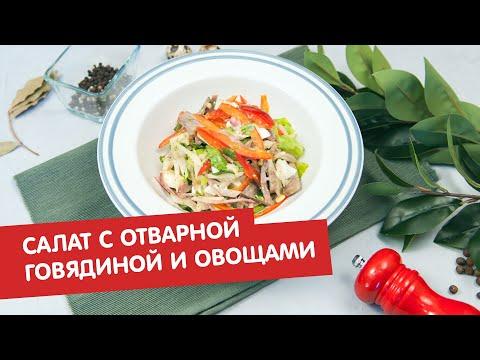Салат с отварной говядиной и овощами | Братья по сахару