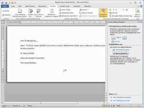 MİCROSOFT WORD 2010 GÖRSEL VİDEO EĞİTİMİ-Word Mektup Adres Etiket Birleştirme