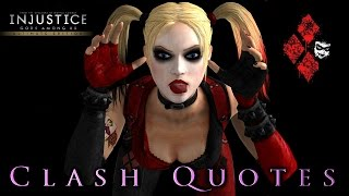 Injustice: Gods Among Us (PS4) | Harley Quinn All Unique Clash Quotes [True 1080p HD]