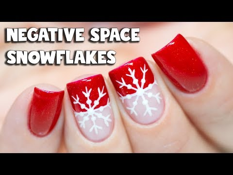 Sparkly Negative Space Snowflake Nail Art Tutorial