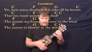 Blowin' In The Wind - Ukulele Cover Lesson in C with Chords/Lyrics