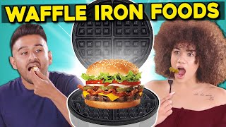 5 Crazy Waffle Iron Experiments | People Vs. Food