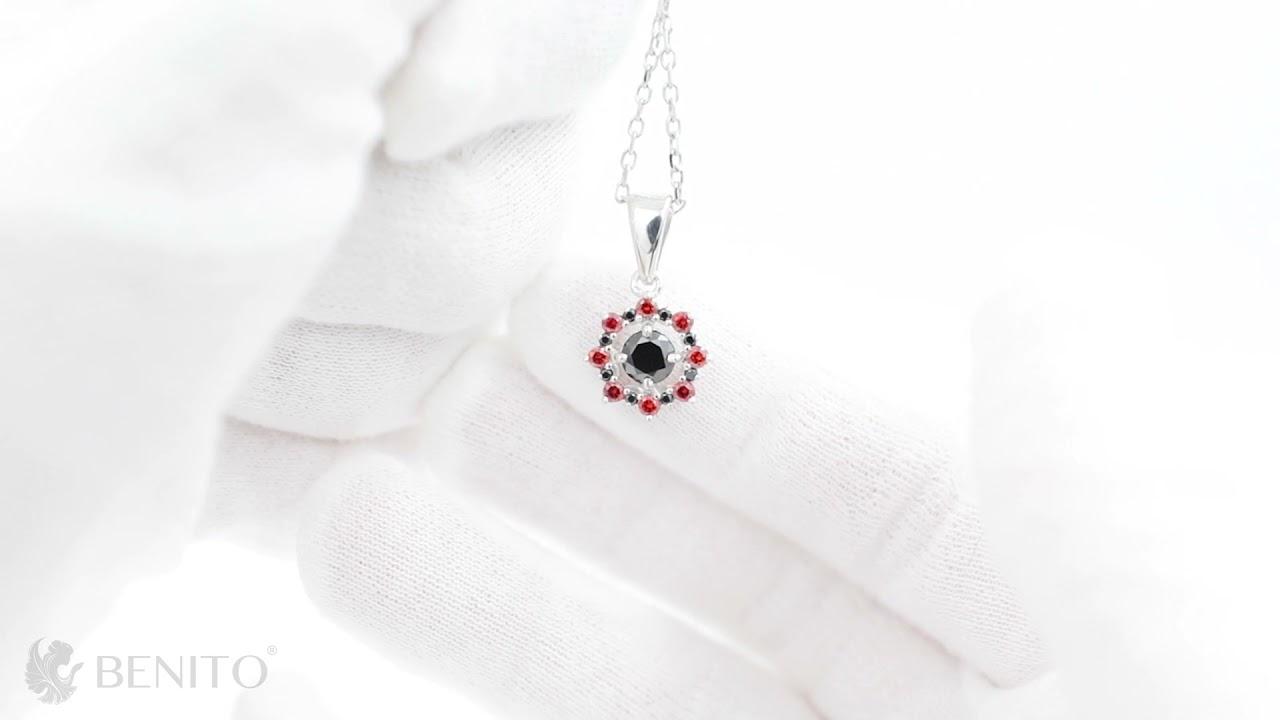 Valentina Pendant Red and Black Zircon Stones