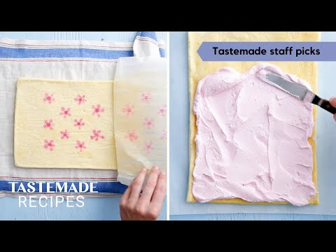 How To Make A Beautiful Cherry Blossom Vanilla Cake Roll | Tastemade Staff Picks