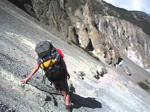 The Landslide Area! Lake Tilicho trail construction, Nepal.