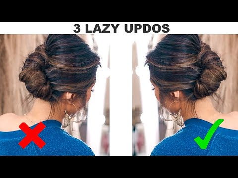 ★3 UPDOS for LAZY but CLASSY GIRLS! ? (Quick HOLIDAY Hairstyles How-to tutorial)