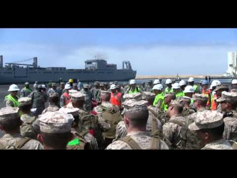 USNS Pililaau offloads at Port of Agadir, Morocco, supports Exercise African Lion 2011