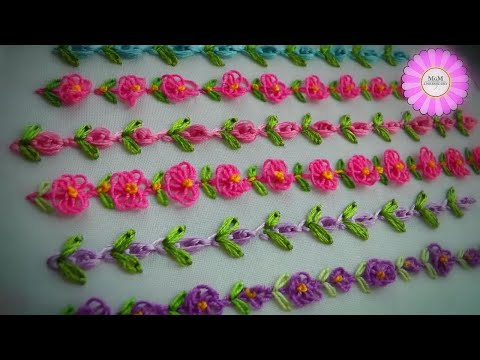 Easy Embroidery: mini border line | loop flower | Embroidery for baby