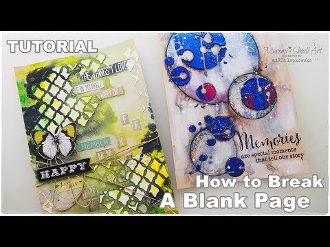 Let's Break A Blank TEXTURE Page Mixed Media Art Journaling part9 ♡ Maremi's Small Art ♡