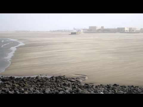 Windy and sandy Tarfaya beach (Morocco)