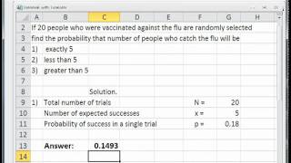 Solve Binomial Distributions Problems with Excel - YouTube