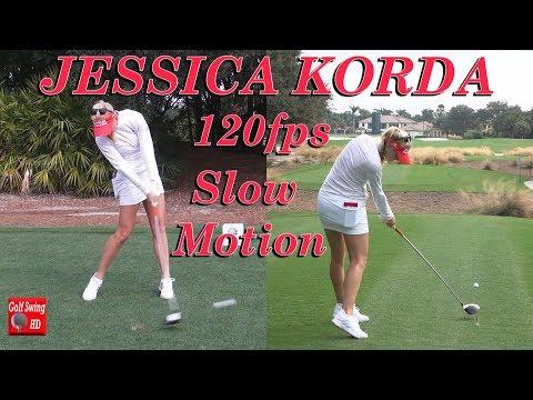 JESSICA KORDA 120fps DUAL ANGLE SLOW MOTION DRIVER GOLF SWING