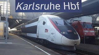 10 Min Karlsruhe Hbf: TGV,ICE 3 Velaro D,ICE 1,IC,RB,Lok