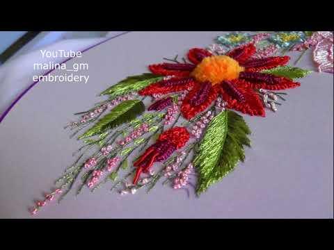 Бразильская ромашка * ручная вышивка Двойной слитный шов