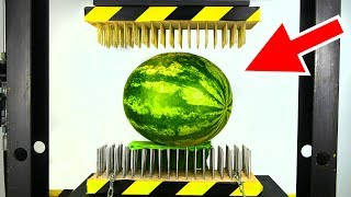 WATERMELON BETWEEN NAIL BEDS (HYDRAULIC PRESS EXPERIMENT)