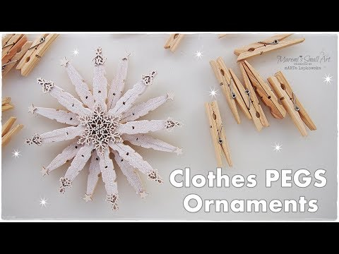 DIY Clothepins Stunning Christmas Star Snowflake Ornament ♡ Maremi's Small Art ♡
