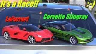 Remote Control Toy Cars: LaFerrari Versus Chevy Corvette Stingray RC Playtime w/ Hulyan & Maya