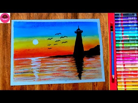 Download thumbnail for Beautiful Lighthouse scenery drawing with Oil