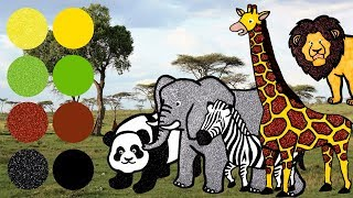 Wild Zoo Animals for Kids, Learn Names and Sounds | Giraffe, Elephant, Lion, Zebra, Panda